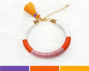 Rope Bracelet with Tassel, Beach Bracelet for Girls, Beach Jewelry, Tassel Bracelet for Women, Summer Gift for Women, Orange Boho Bracelet