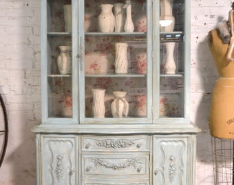 Painted Cottage Chic Shabby White Romantic French China Cabinet CC1046