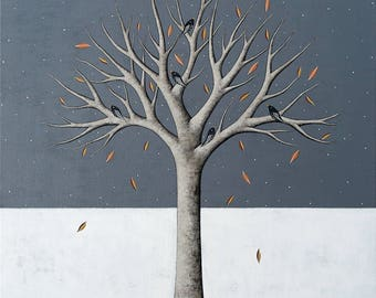 The First Snow of Winter - Archival 8x8 Art Print - Contemporary Landscape Painting - Tree With Birds - by Natasha Newton