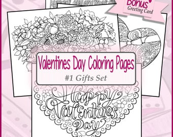 DIGITAL DOWNLOAD** Valentines Day Coloring Pages #1 Gifts Set **