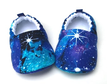 Galaxy Baby Shoes, Soft Sole Baby Shoes, Outer Space Baby Booties, Baby Shower Gift, Stars Toddler slippers, baby moccasins, vegan shoes