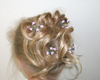 Hairpins - Mini paper rosebuds (pink set of 4 hairpins)
