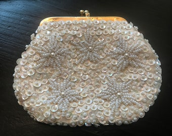 Vintage White Sequin and Beaded Coin Purse Made Exclusively for Richard's of British Hong Kong, Gold Metal Frame, Satin Lining