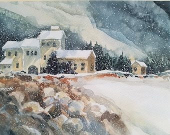 "Snowy Retreat- 12.875x20"" Watercolor Giclee Print"