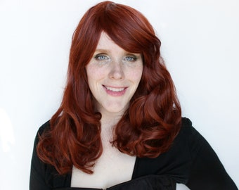 Auburn wig | Curly wig, Long Red wig with bangs | Wavy Ginger wig, Auburn Red wig | Natural Red wig, Alopecia wig | Fire Orchid