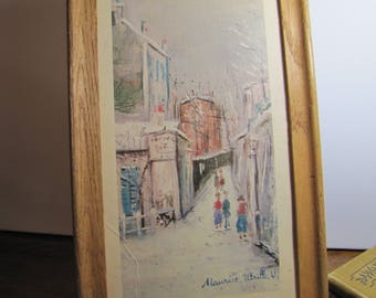 Vintage Print - Paris Street Scene - Maurice Utrillo V - Wood Frame - No Glass