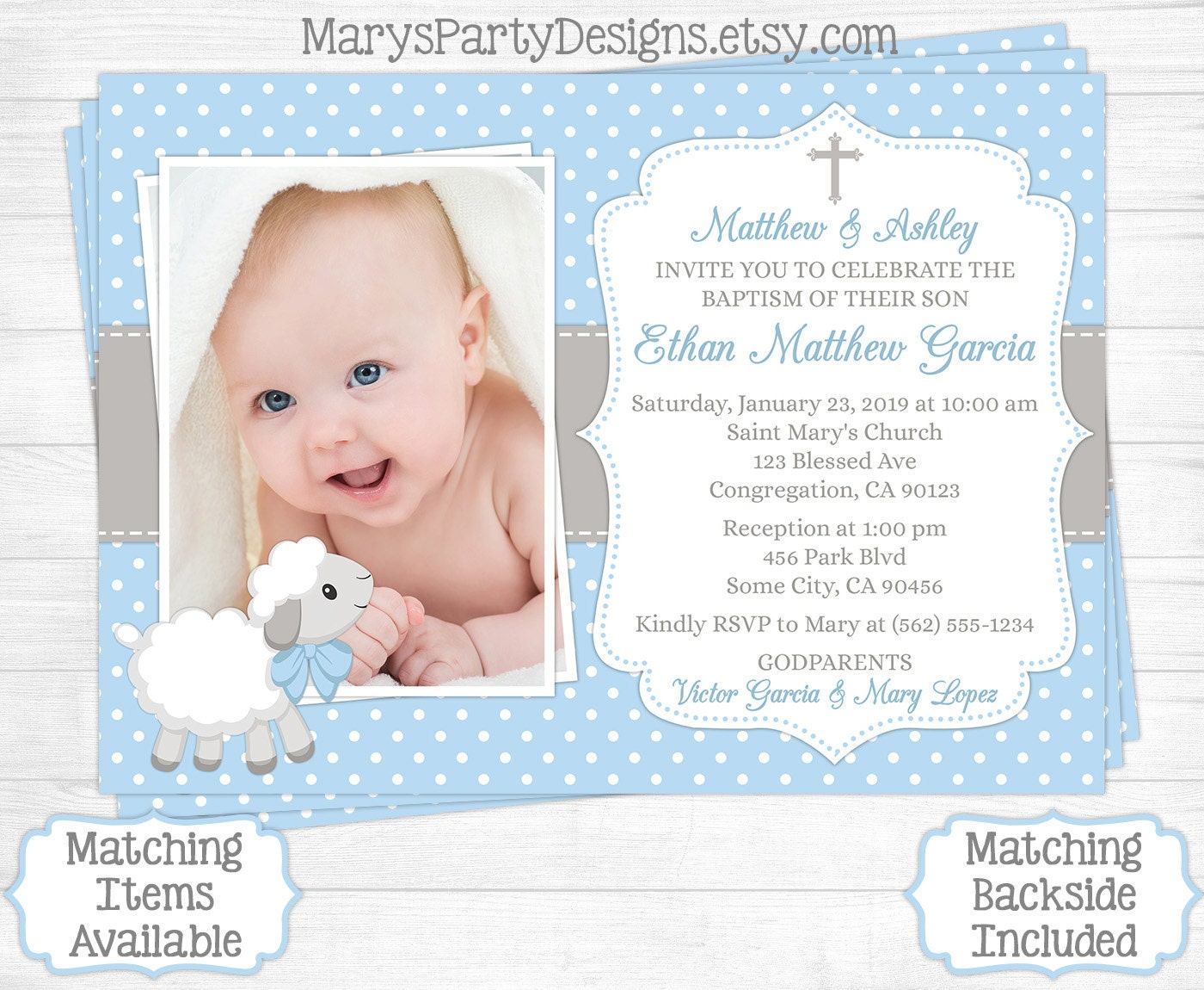 Sample Of Invitation Card For Christening And 1st Birthday.  zoom Lamb Baptism Invitation Boy First 1st Birthday Christening