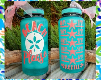 Motivational Water Bottle/Beach Please/34oz./Water Tracker/Water Reminder/Sand dollar/Starfish/Wide Mouth Water Bottle/Lots of Colors/Gift