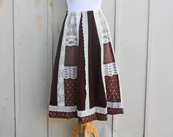 Brown Calico Skirt - Vintage Prairie Skirt - 70s Skirt - Carefree Fashions Skirt - 1970s Skirt - Peasant Skirt - Hippie Skirt - Floral Skirt