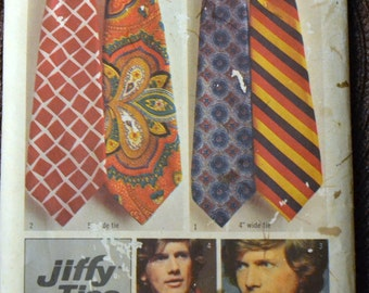 Vintage 80's Sewing Pattern Simplicity 5287 Men's Jiffy Ties  Partially Cut Complete