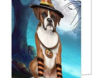 Happy Halloween Trick or Treat Boxer Dog Candy Corn Set of 10 Greeting Cards