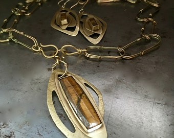 Tigereye metal necklace and  earrings set, antique brass hammered texture, riveted golden layers with handmade chain