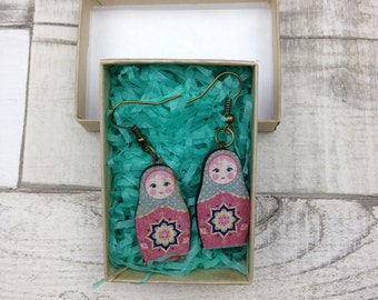 Light blue and pink Russian Doll Babushka earrings