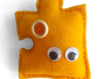 Yellow Felt Puzzle Magnet