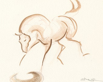 """Horse Art, Original Watercolor Painting by Anna Noelle Rockwell-Playing Foal, """"Reflections"""""""