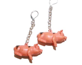 Kitsch Toy Pig Earrings - plastic kids toy miniature piggy earrings pink pig lover gift piggy pink jewelry earrings