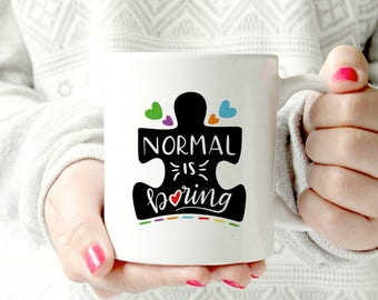 Autisn awareness mug. Puze piece mug. Normal is boring