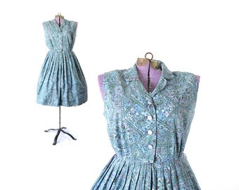 1950s dress, 50s dress, blue dress, vintage clothing, vintage dress, day dress, vintage 1950s dress, nelly don, cotton, paisley, large dress