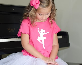 WAREHOUSE SALE Ballerina Nostalgic Graphic Tee in Short Ruffle Sleeves - Hot Pink with White