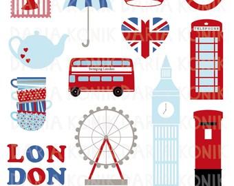 London Clip Art Set-city clipart, UK, England, Great Britain, travel clipart, Union Jack, Big Ben, bus, eps, png, jpeg, instant download