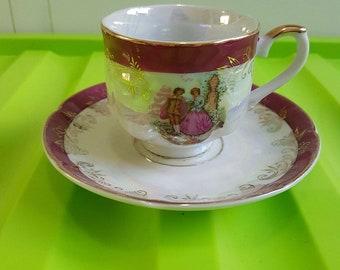 "Vintage ""Jen"" Japan Lustre Tea Cup and Saucer Courting Couple"