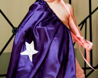 Handmade Child Cape Girl Power Super Hero Costume Halloween Kids Toddler Children Pink Purple Star