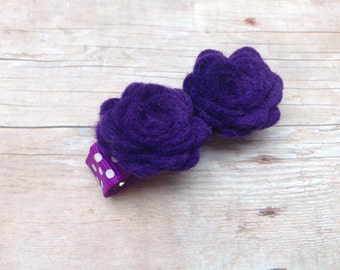 Dark purple felt flower hair clip - felt bows, felt hair bows, flower hair clips, baby hair bows, baby bows, girls hair bows, hair bows