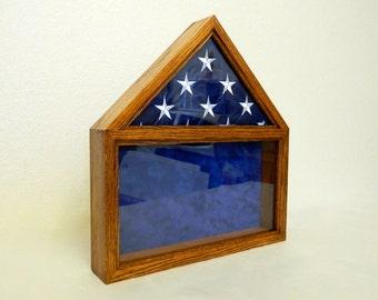 Military Retirement Shadow Box, American Flag Wood Display Case, 3 x 5 Folded Flag, Army, Air Force, Navy, USMC, Coast Guard,