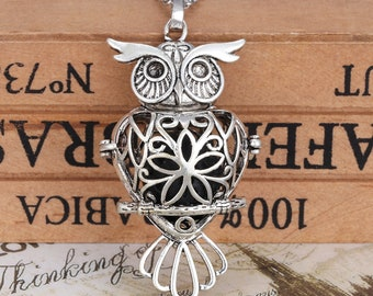 Antique Silver Bird Lockets Pendant Essential Oil Diffuser Necklace Aromatherapy Jewelry For Women Gift