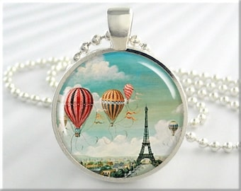 Paris Art Pendant, Eiffel Tower Necklace, Hot Air Balloon Picture Jewelry, Resin Charm, Gift Under 20, Paris France, Travel Gift (241RS)