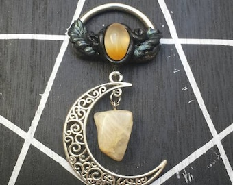 Crescent moon Moonstone and Citrine in unique compilation of healing Stones