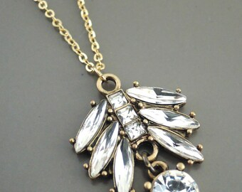Art Deco Necklace - Vintage Inspired Necklace - Crystal Necklace - Gold Necklace - Leaf Necklace - handmade jewelry