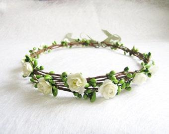Wedding Floral Crown, light Ivory Flower Headband, Floral Head Wreath, Wedding Headband, Bridesmaid Flower Crown, Flower Girls Flower Crown