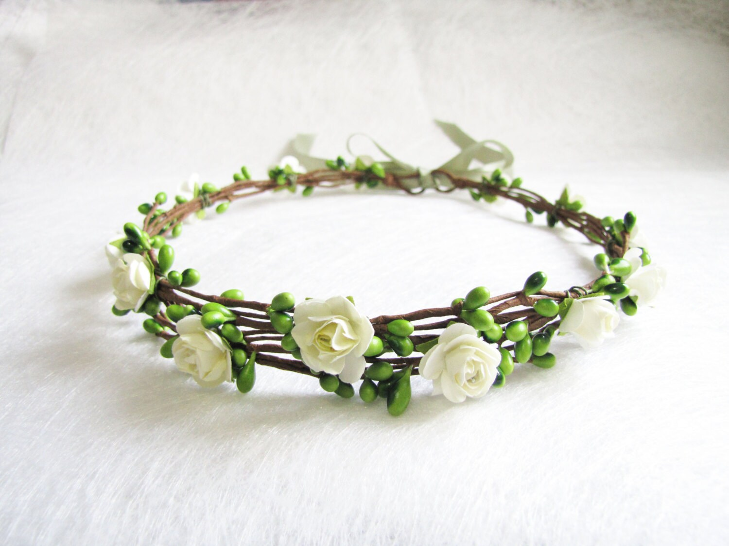 Wedding floral crown light ivory flower headband floral head zoom izmirmasajfo