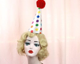 Clown Hat, Birthday Party Hat, Circus Costume, Red Pom Pom, Multi Colored Polka Dot, Burlesque, Halloween Costume, Scary Clown
