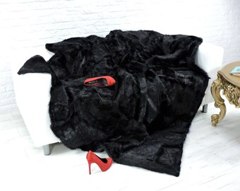 Luxury genuine nutria fur throw, blanket, rich black, size 220cm x 200cm, i019