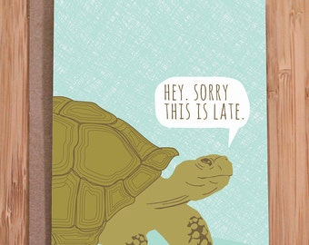 belated birthday card / tortoise