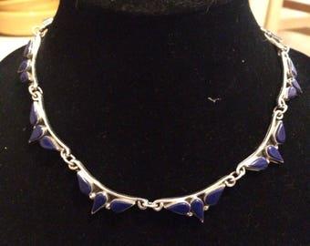 Vintage Sterling Silver Lapis Southwest Necklace