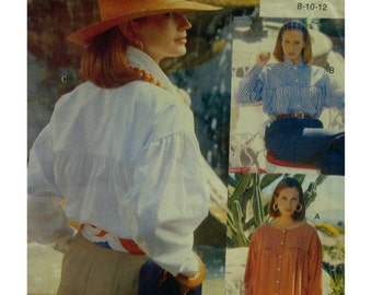 Peasant Shirt Pattern, Yoke, Collar, Full Sleeves, Cuffs, Farmers Shirt, Smock, Vogue No. 8118 UNCUT Size 14 16 18
