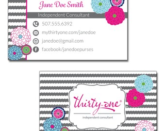 Thirty One Consultant Business Cards Bubble Bloom and Grey Wave Inspired Design