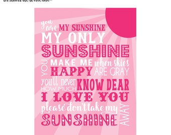 8x10 and 11x14  Pink You are my sunshine Nursery Wall Art digital- you print your own- INSTANT DOWNLOAD