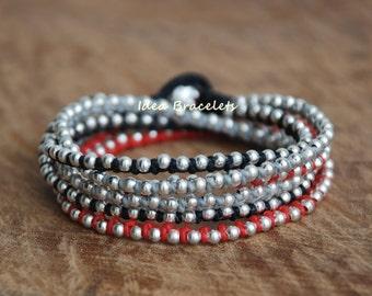 Red Layers bracelets, Rock handmade bracelet, Silver jewelry, Wrap bracelet