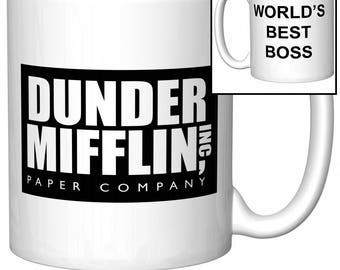 """The Office Dunder Mifflin """"World's Best Boss"""" Funny Gift Coffee Mug (Coffee Cup)"""