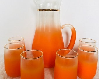 Vintage MCM Blendo Orange Pitcher and 6 juice glass set