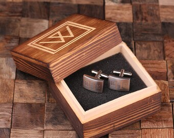 Personalized Men's Classic Cuff Link Monogrammed Engraved Groomsmen, Best Man, Father's Day Gift