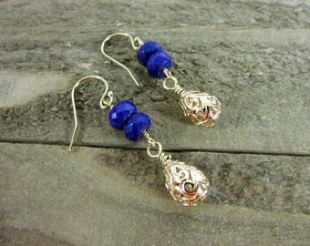 Lapis Dangle Earrings, Gold Filigree & Lapis Earrings, Simple Earring