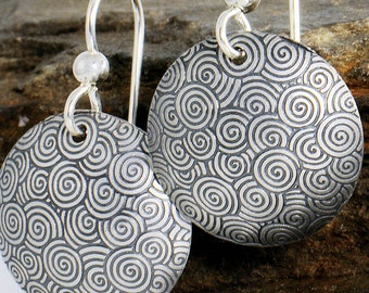 Swirl Disk Earrings, Swirl Silver Earrings, Spiral Earrings, Sterling Silver Swirl Earrings, Black and White Earrings