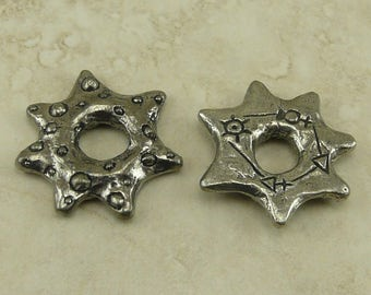 Alchemy Rock Green Girl Ring - Space Star Link Magic Celestial - Focal Large Hole - American Artist Made Lead Free Pewter Silver 273