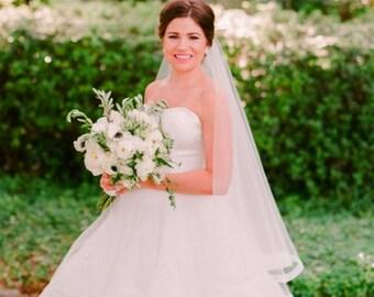 "Custom Order 1"" HORSEHAIR DROP Veil w/ Blusher, Fingertip or Waltz Length Wedding Veil - Emily"