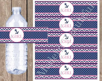 Navy and pink water bottle labels , nautical baby shower water bottle label, it's a girl water bottle wraps, nautical4 INSTANT DOWNLOAD